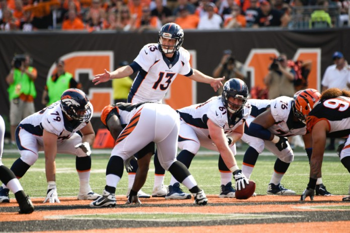 CINCINNATI, OH - SEPTEMBER 25: Denver Broncos quarterback Trevor Siemian (13) calls the play at the line during the fourth quarter against the Cincinnati Bengals September 25, 2016 at Paul Brown Stadium. (Photo By John Leyba/The Denver Post)